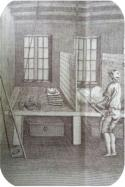 Fur being prepared for felting with a hatter's bow-carder in 1771