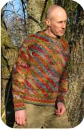 Wool jumper, naturally dyed colours, hand spun and knitted. Design by Kaffe Fassett